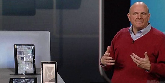 Steve Ballmer with Slate tablet PCs