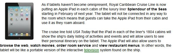 iPad to be available in every cabin on the cruise ship Splendour of the Seas