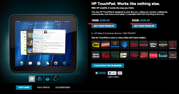 HP TOuchPad Price Cut