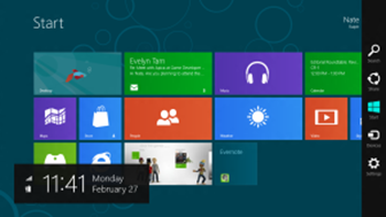Windows 8 start screen with charm bar
