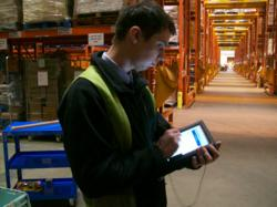 Motion F5 Tablet in use at Poundlamd Warehouse
