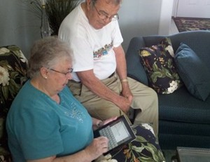 Grandma using new iPad