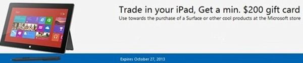 Microsoft iPad trade in offer