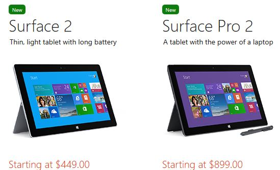 New Microsoft Surface 2 and Surface Pro Tablets