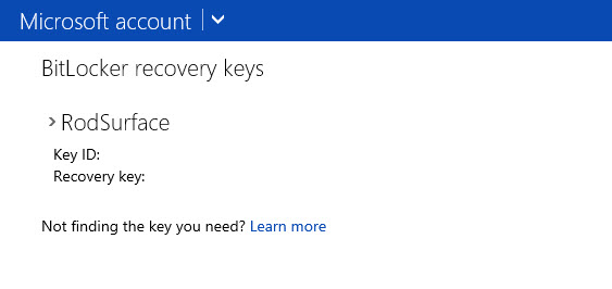 Bitlocker recovery key in the cloud