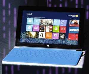 Microsoft Surface Pro with blue keyboard