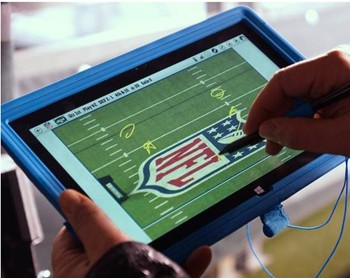 NFl Surface Tablet on the sidelines