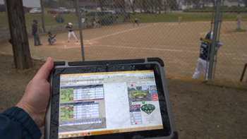 Mobile Demand Tablet for keeping score at baseball games in all weather