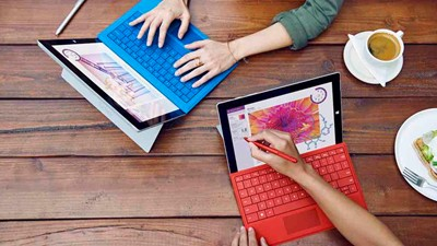 Red and Blue Surface pro and Surface 2 Tablets