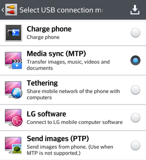 Android MTP mode for transferring