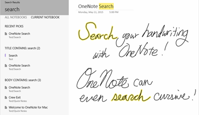 Search onenote