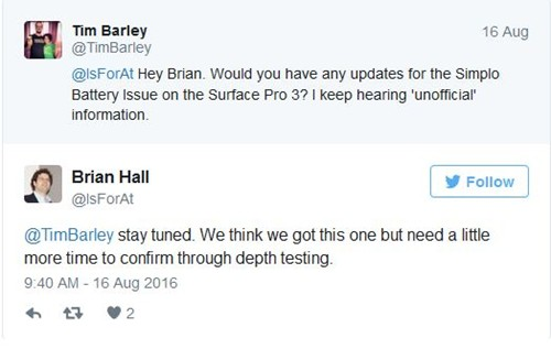 Brian Hall Surface Pro 3 battery fix soon
